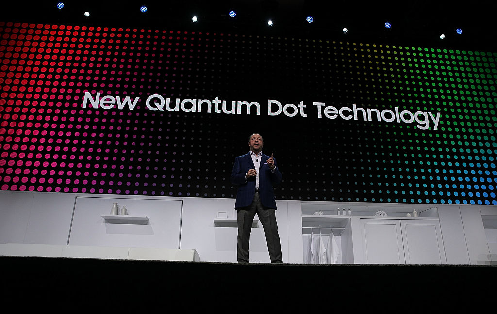 Joe Stinziano, Executive Vice President of Samsung Electronics America, speaks during a press event for CES 2017 at the Mandalay Bay Convention Center,.
