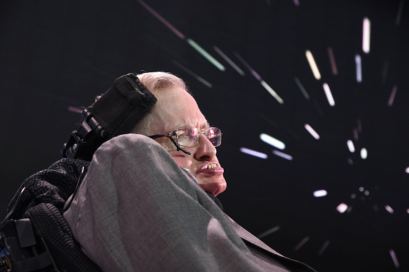 Stephen Hawking, CH, CBE, FRS, appears in the press conference to announce Breakthrough Starshot, a new space exploration initiative, at One World Observatory on April 12, 2016 in New York City.