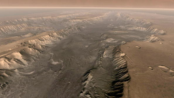 Mars' Valles Marineris is shown on the surface of the planet in this composite image made aboard NASA's Mars Odyssey spacecraft.