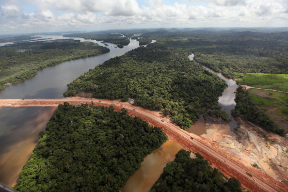 Aerial view of the Amazon deforestation in 2012 during the construction of Belo Monte dam complex in Altamira, Brazil.