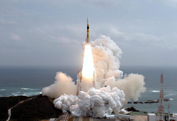 Japan's H2-A rocket launches from a launching pad at the Tanegashima Space Center on February 24, 2007 in Kagoshima Prefecture, Japan
