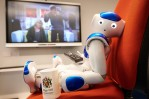 Edge Hill University's Robbie the Robot catches up on soap opera Emmerdale to recognize dementia signs.
