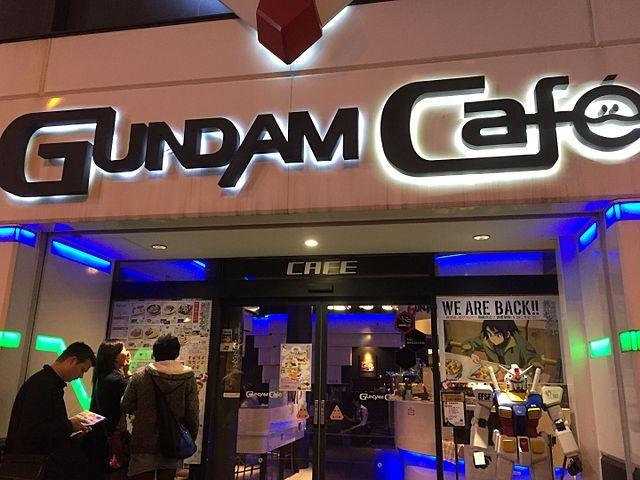 Gundam Cafe at night