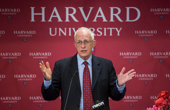 Harvard Professor Oliver Hart during a press conference at Harvard announcing his shared Nobel Prize in Economics with MIT Professor Bengt Holmstrom on October 10, 2016 in Cambridge, Massachusetts.