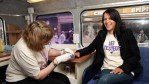 Singer Lisa Moorish gets tested for Hepatitis B and Hepatitis C , to promote getting tested ahead of World Hepatitis Day 2009 (19th May 2009), on the first ever 'Get Tested!' bus at Leicester Square.
