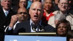 California Governor Jerry Brown speaks during an event on health care at the House East Front of the Capitol March 22, 2017 in Washington, DC.