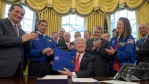 President Donald Trump after signing the 2017 NASA Transition Authority Act